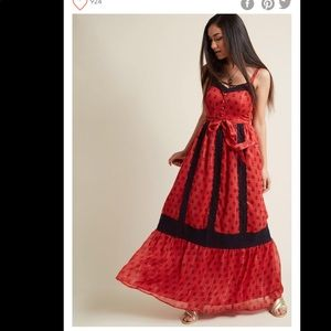 Modcloth Red Floral Maxy Dress with Lace NWT